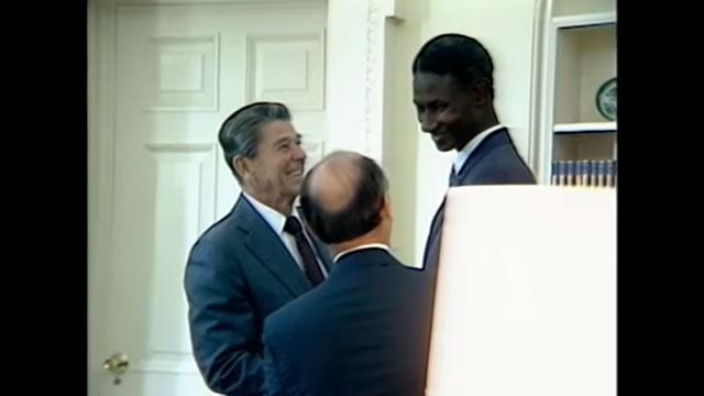 President Reagan Meeting with President Abdou Diouf of Senegal on August 10, 1983